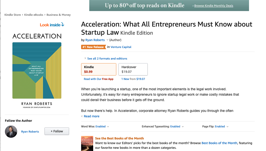 Acceleration Book Update - 1 Month ⋆ Startup Lawyer